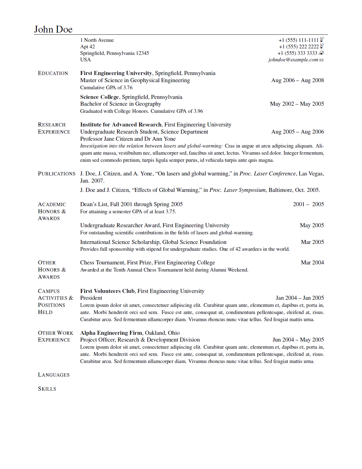 LaTeX resume document sample
